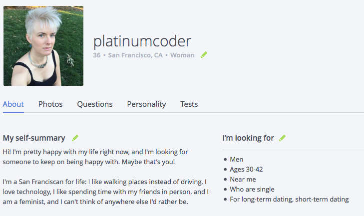 OkCupid profile