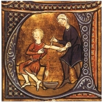 An illumination from a medieval text showing a doctor cutting a patient's arm and letting the blood fall into a bowl