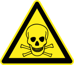 Yellow triangular sign with a black skull