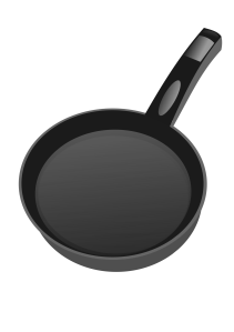 Drawing of a cast iron frying pan
