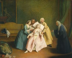 A pale woman in 18th century dress leaning back on a pillow surrounded by worried people