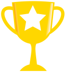 A large gold trophy with a star emblazoned on it